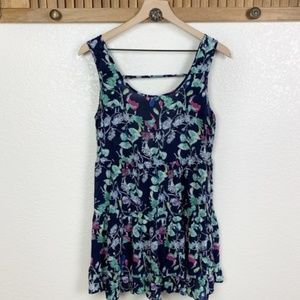 Blu Pepper Navy Floral Back Cut Out Ruffle Top